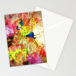 Peacock Grunge Stationery Cards