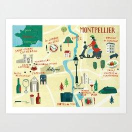 Montpellier Map Art Print