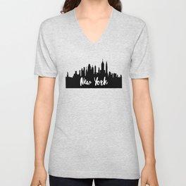 New York City Skyline SilhouetteTypography Unisex V-Neck