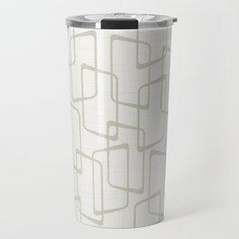 Beige / Light Warm Gray Retro Geometric Print Travel Mug