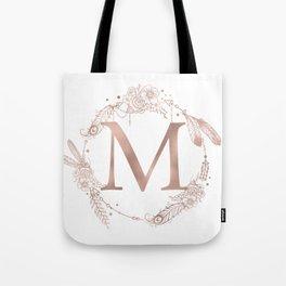 Letter M Rose Gold Pink Initial Monogram Tote Bag
