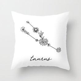 Taurus Floral Zodiac Constellation Throw Pillow