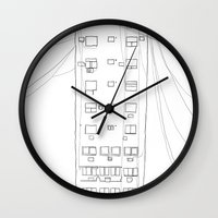 building Wall Clocks featuring building by STUPIDkid