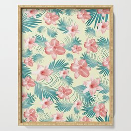 Tropical Flowers Palm Leaves Finesse #7 #tropical #decor #art #society6 Serving Tray