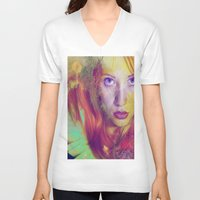 angel V-neck T-shirts featuring Angel by Ganech joe