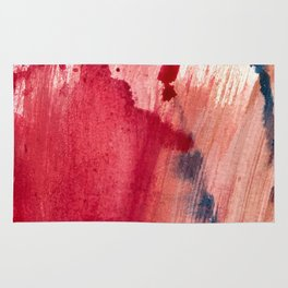 Blushing [3]: a vibrant, minimal abstract in pink, red, rose gold, and blue details Rug