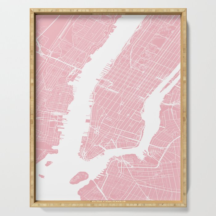 Pink City Map of New York, USA Serving Tray