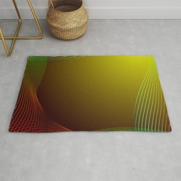 Greeting card of red and green lines on a yellow background. Rug