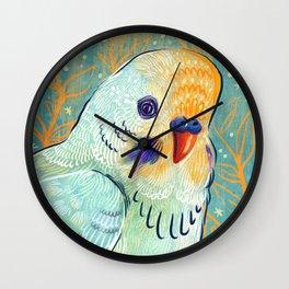 Minty Parakeet Wall Clock
