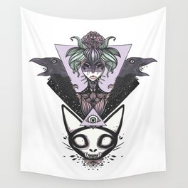 Witch, Crows, Cat Skull, And All Seeing Eye Of Providence Wall Tapestry