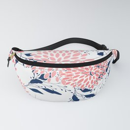 Floral Blooms and Leaves, Navy Blue, Pink and White Fanny Pack