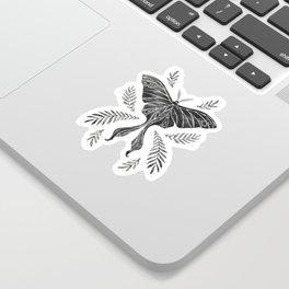 Watercolor Luna Moth in Black and White Sticker