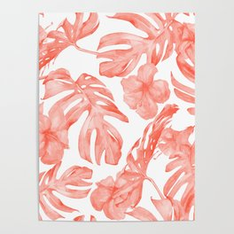 Tropical Hibiscus and Palm Leaves Dark Coral White Poster