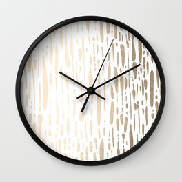 White Gold Sands Modern Vertical Dotted Lines Wall Clock