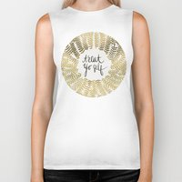 treat yo self Biker Tanks featuring Treat Yo Self – Gold by Cat Coquillette