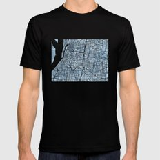 Memphis Tennessee blueprint watercolor map MEDIUM Black Mens Fitted Tee