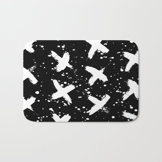 X Paint Spatter Black and White Bath Mat