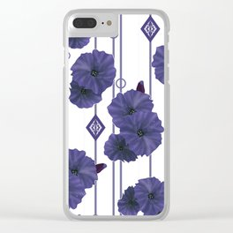Blue flowers on striped white background Clear iPhone Case