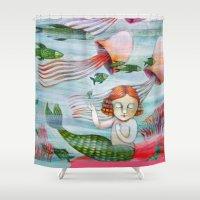 siren Shower Curtains featuring SIREN by Lauraballa StudioArte
