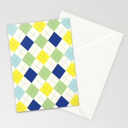 Argyle Plaid in Blue, Green and Yellow Stationery Cards
