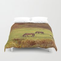 horses Duvet Covers featuring Horses by SensualPatterns