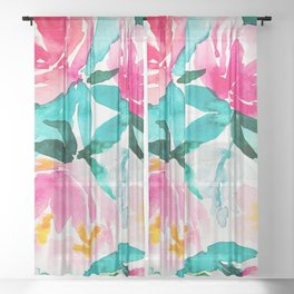 Pink Peony Sheer Curtain