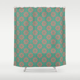 Flower Weave Texture Pattern - Teal Living Coral Shower Curtain