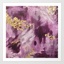 Purple and Gold Abstract Glam Art Print