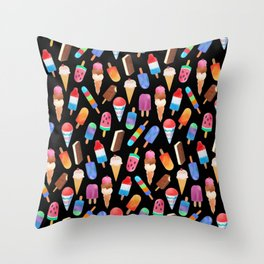 Black Summer Ice Cream and Popsicles Throw Pillow