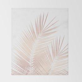 Rose Gold Palm Leaves Dream - Cali Summer Vibes #1 #tropical #decor #art #society6 Throw Blanket