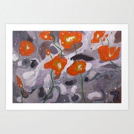 Poppies On Indian Rock Art Print