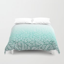 Gradient turquoise blue and white swirls doodles Duvet Cover