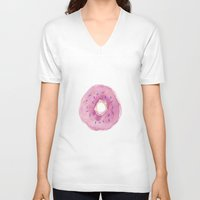 donut V-neck T-shirts featuring Donut by Janelle Adamson