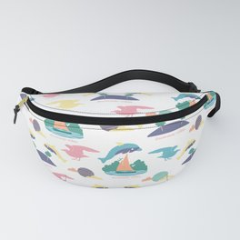 Jumping dolphins in a seamless pattern Fanny Pack