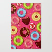 donut Canvas Prints featuring DONUT by Ylenia Pizzetti