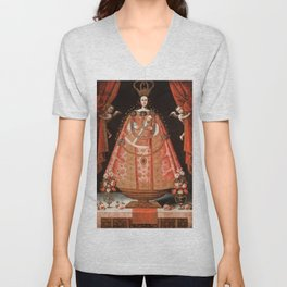 Virgin of Belén - Peru, Cuzco School, 1700 Unisex V-Neck