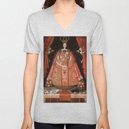 Virgin of Belén - Peru, Cuzco School, 1700 Unisex V-Neck