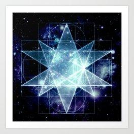 Galaxy Sacred Geometry : Stellated Icoshadron Blue Art Print
