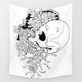 Skull #9 (Pushing Up Daisies) Wall Tapestry