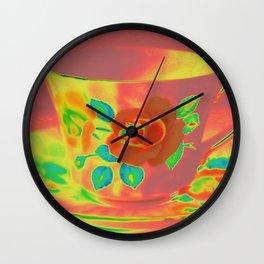 Teacup | Still Life | Vintage Coral Rose Teacup | Nadia Bonello Wall Clock
