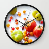 tennessee Wall Clocks featuring Tennessee Tomatoes by Lindsay Landis