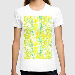Australian Golden Wattle Flowers in White T-shirt