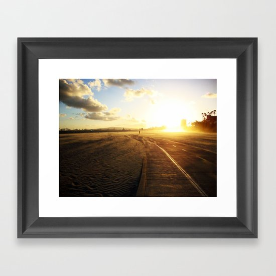 Run into the Sunset Framed Art Print