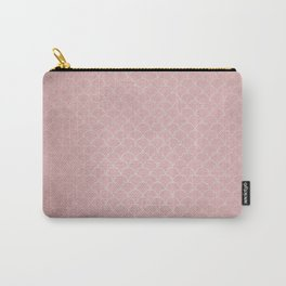 Grunge textured rose quartz small scallop pattern Carry-All Pouch