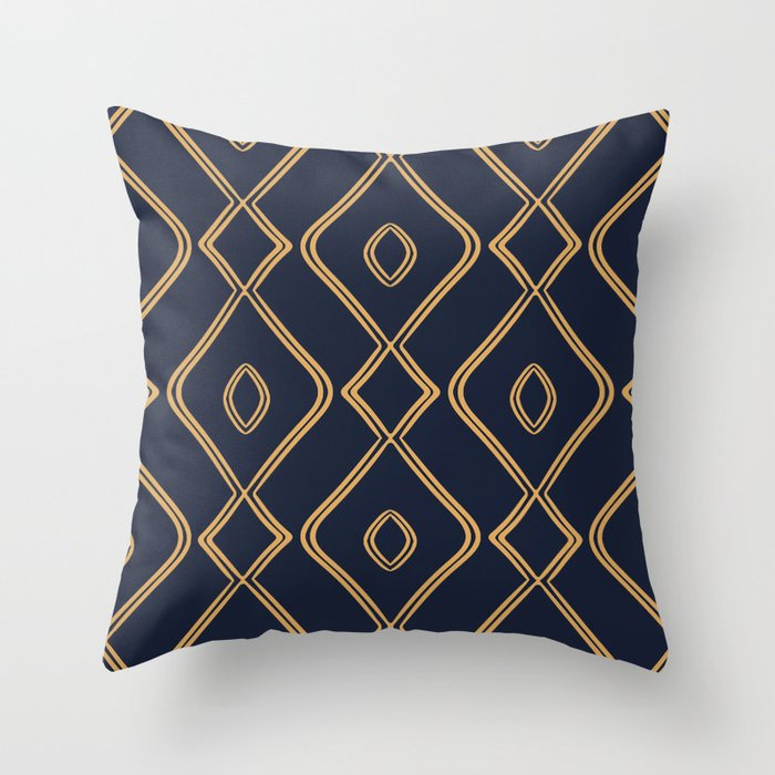 Modern Boho Ogee In Navy Gold Throw Pillow By Beckybailey1 Society6