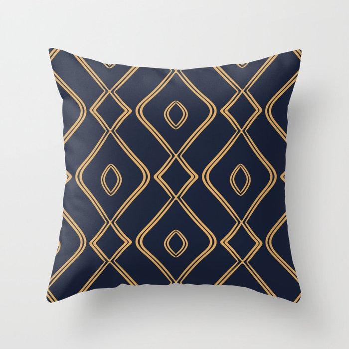 Modern Boho Ogee in Navy & Gold Throw Pillow