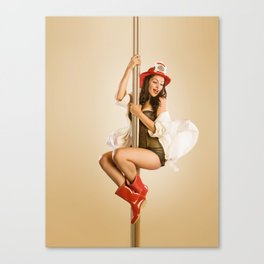 """""""Four-Alarm Flirt"""" - The Playful Pinup - Firefighter Girl Pin-up by Maxwell H. Johnson Canvas Print"""