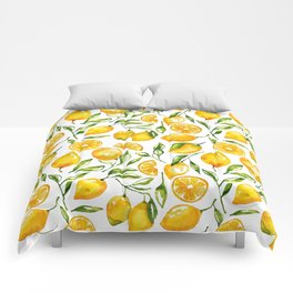 lemon watercolor print Comforters