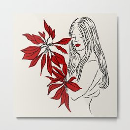 Girl with Red Flowers Metal Print