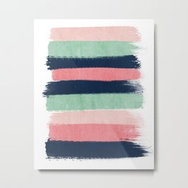 Painted stripe stripes mint navy pink modern color palette painterly minimalist nursery art Metal Print